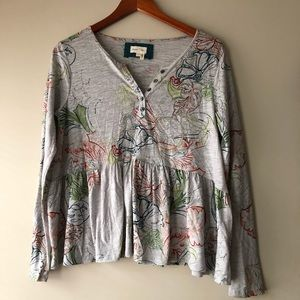 Meadow Rue Anthropologie Floral Long Sleeve Shirt